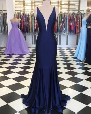 Navy Blue Simple Deep V-neck Mermaid Prom Dress PD1654
