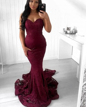 Mermaid Style Sweetheart Lace Burgundy Prom Dress PD1655