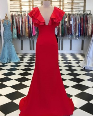 Mermaid Satin Jewel Neck Red Prom Dress with Layered Sleeves PD1656