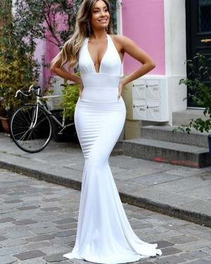 Simple Halter White Ruched Satin Mermaid Prom Dress PD1657