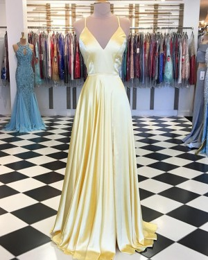 Yellow Pleated Satin Spaghetti Straps Prom Dress with Side Slit PD1658