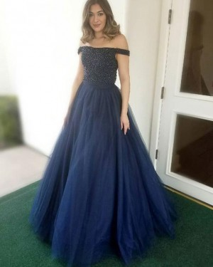 Navy Blue Beading Bodice Off the Shoulder Tulle Prom Dress PD1662