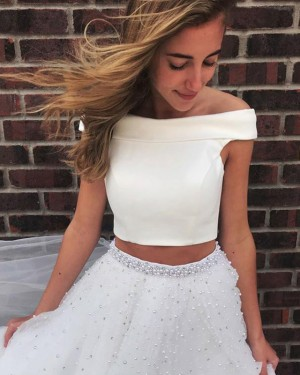 Two Piece Tulle Beading SkirtOff the Shoulder White Prom Dress PD1663