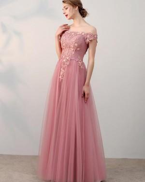 Blush Pink Appliqued Bodice Off the Shoulder Tulle Prom Dress PD1665
