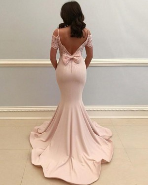Pearl Pink Satin Cold Shoulder Prom Dress with Lace Short Sleeves PD1667
