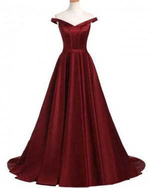Burgundy Pleated Off the Shoulder Satin Prom Dress PD1668