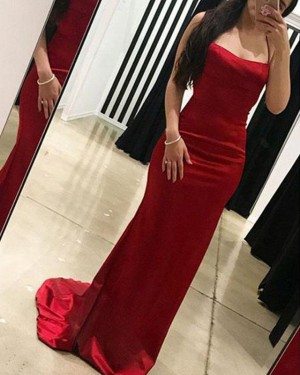Red Simple Spaghetti Straps Mermaid Prom Dress PD1669