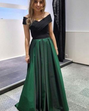 Simple Ruched Green Off the Shoulder Satin Prom Dress PD1670