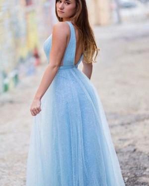 Light Blue Sparkle Deep V-neck Sequin Tulle Prom Dress PD1671