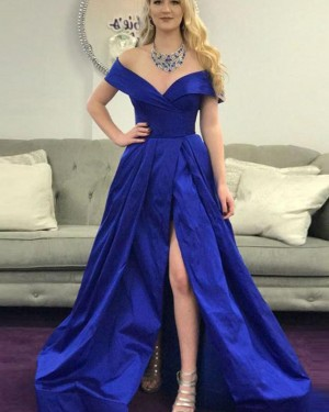 Royal Blue Ruched Off the Shoulder Prom Dress with Side Slit PD1672