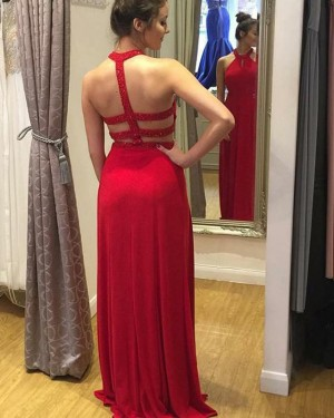 Red Satin High Neck Beading Prom Dress with Side Slit PD1675