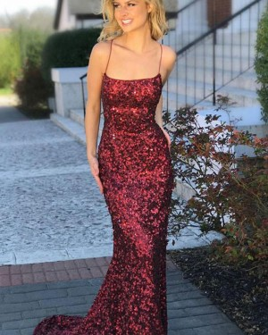 Rose Red Sequin Spaghetti Straps Mermaid Prom Dress PD1676