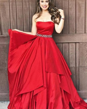 Red Satin Strapless Ruffle Prom Dress with Beading Belt PD1677