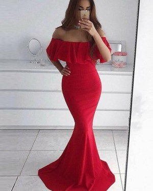 Red Layered Bodice Off the Shoulder Mermaid Prom Dress PD1679