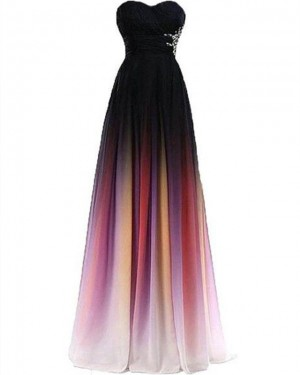 Chiffon Beading Sweetheart Ombre Bridesmaid Dress PD1680