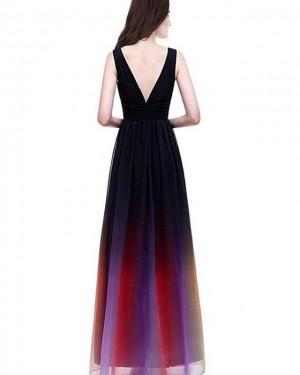 Ombre Chiffon Deep V-neck Long Formal Dress PD1681