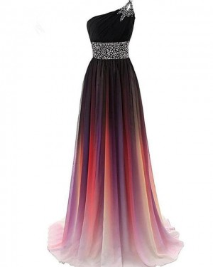 Ombre Beading Pleated One Shoulder Chiffon Bridesmaid Dress PD1682