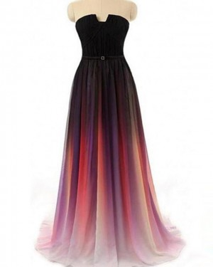 Ombre Chiffon Strapless Cutout Pleated Bridesmaid Dress PD1683