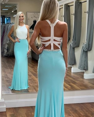 White and Lake Blue High Neck Mermaid Prom Dress with Beading PD1686