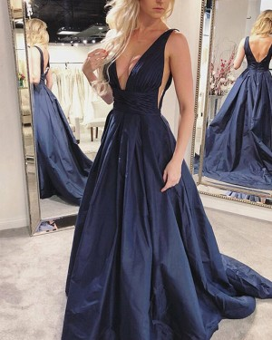 Simple Navy Blue Satin Pleated Deep V-neck Prom Dress with Pockets PD1694