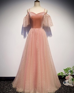 Peach Pink Cold Shoulder Sparkle Tulle Pleated Prom Dress PD1695