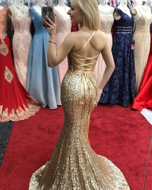 Gold Sequin Spaghetti Straps Mermaid Prom Dress with Side Slit PD1696