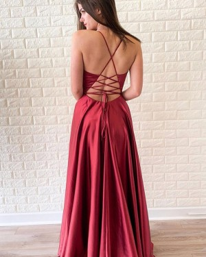 Long V-neck Red Satin Simple Prom Dress with Side Slit PD1697