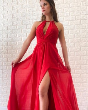 Simple Halter Red Cutout Ruched Satin Prom Dress with Side Slit PD1698