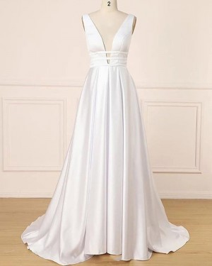 Simple Pleated Deep V-neck White Satin Prom Dress PD1699