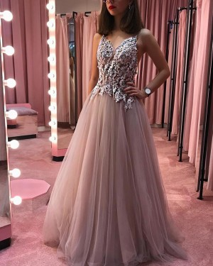 Dusty Rose Appliqued Pleated V-neck Beading Long Prom Dress PD1701