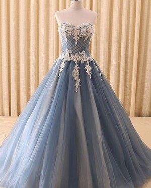Sweetheart Dusty Blue Lace Appliqued Evening Gown PD1702