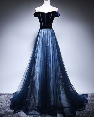 Navy Blue Off the Shoulder Sparkle A-line Prom Dress PD1703