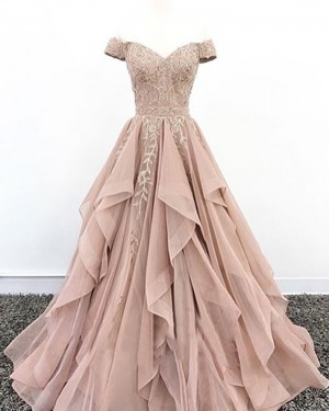 Beading Appliqued Off the Shoulder Nude Pleated Ruffled Evening Dress PD1704