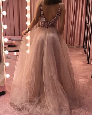 Nude Sequin V-neck Beading Bodice Tulle Prom Dress PD1705