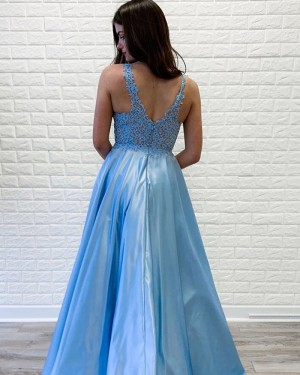 Blue Satin V-neck Appliqued Bodice Prom Dress PD1706