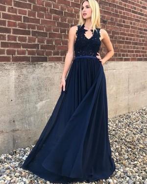 Navy Blue V-neck Lace Appliqued Bodice A-line Prom Dress PD1708