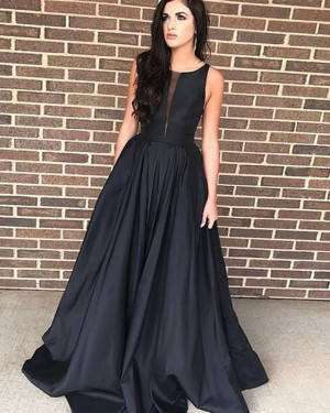 Simple Satin Black Jewel Prom Dress PD1710