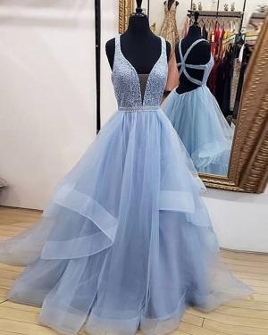 Sky Blue Ruffled V-neck Beading Bodice Tulle Prom Dress PD1711