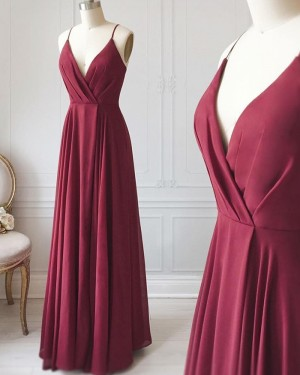 Simple Long V-neck Burgundy Ruched Satin Formal Dress PD1712