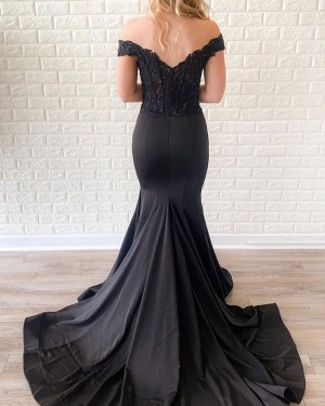 Black Satin Off the Shoulder Beading Bodice Mermaid Prom Dress PD1713
