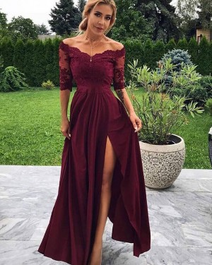 Lace Bodice Side Slit Off the Shoulder Burgundy Prom Dress with Half Length Sleeves PD1715