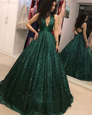 Sequin Pleated Green Deep V-neck Evening Gown PD1717