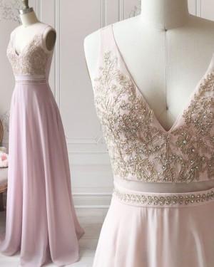 Light Pink V-neck Cutout Beading Bodice Chiffon Formal Dress PD1718