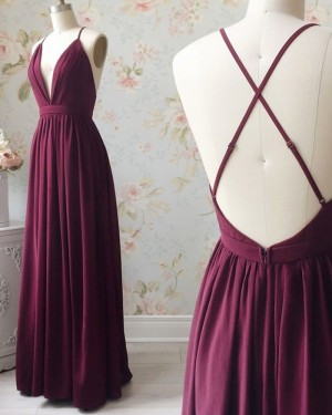 Simple Spaghetti Straps Burgundy Pleated Formal Dress PD1719