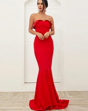 Simple Red Strapless Mermaid Satin Prom Dress PD1720