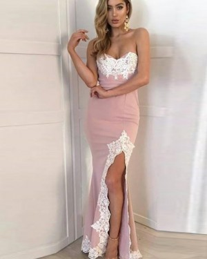 Dusty Pink Sweetheart Appliqued Mermaid Prom Dress with Side Slit PD1721