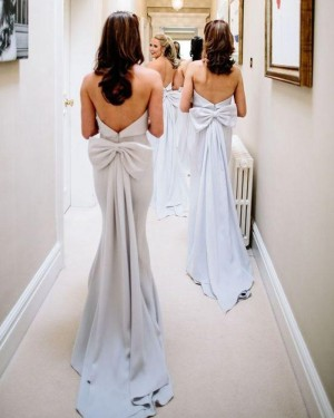 Simple Strapless Dusty Blue Mermaid Bridesmaid Dresses with Bowknot PD1722