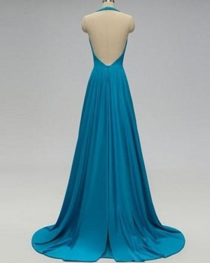 Pleated Halter Satin Cutout Formal Dress with Open Back PD1723