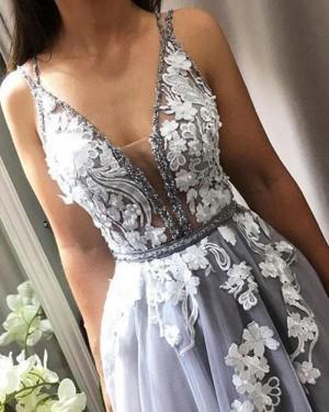 Lace Appliqued Deep V-neck Grey Tulle Ankle Length Formal Dress PD1724