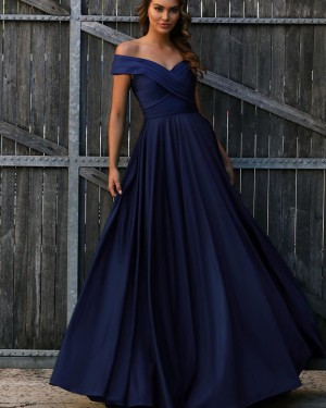Simple Long Off the Shoulder Navy Blue Ruched Prom Dress PD1726